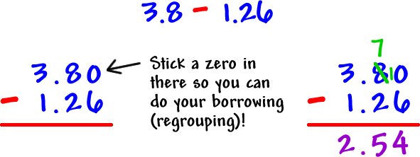 how to teach adding and subtracting decimals