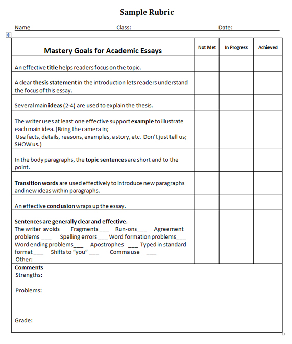 Grading rubric for summary essay